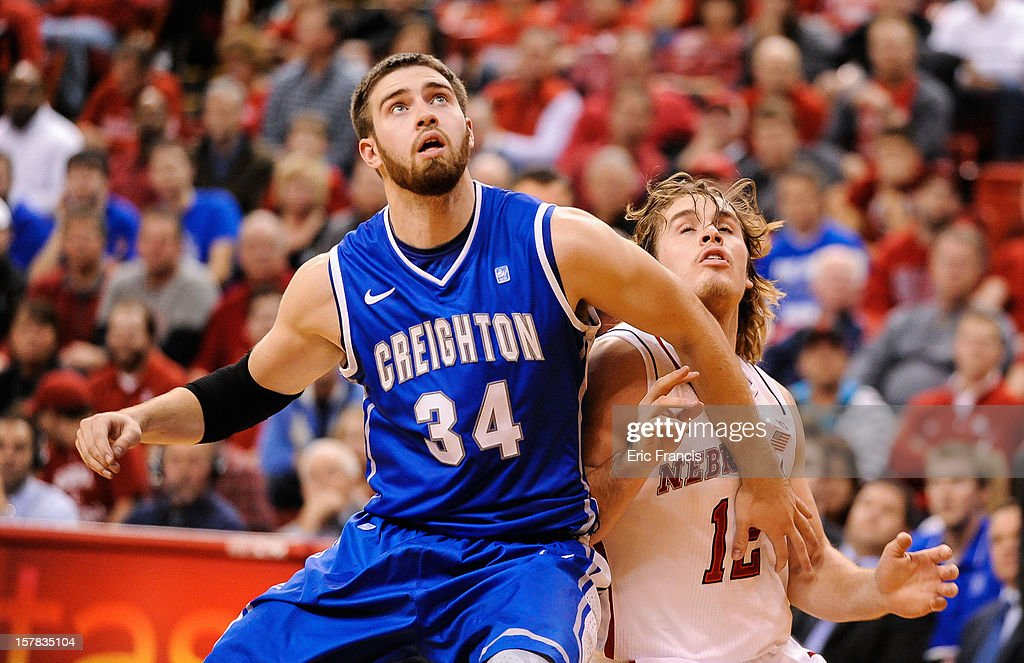 Ethan Wragge #34 of the Creighton Bluejays and Mike Peltz #12 of the Nebraska Cornhuskers battle for position under the basket during their game at the Devaney Center on December 6, 2012 in Lincoln, Nebraska.