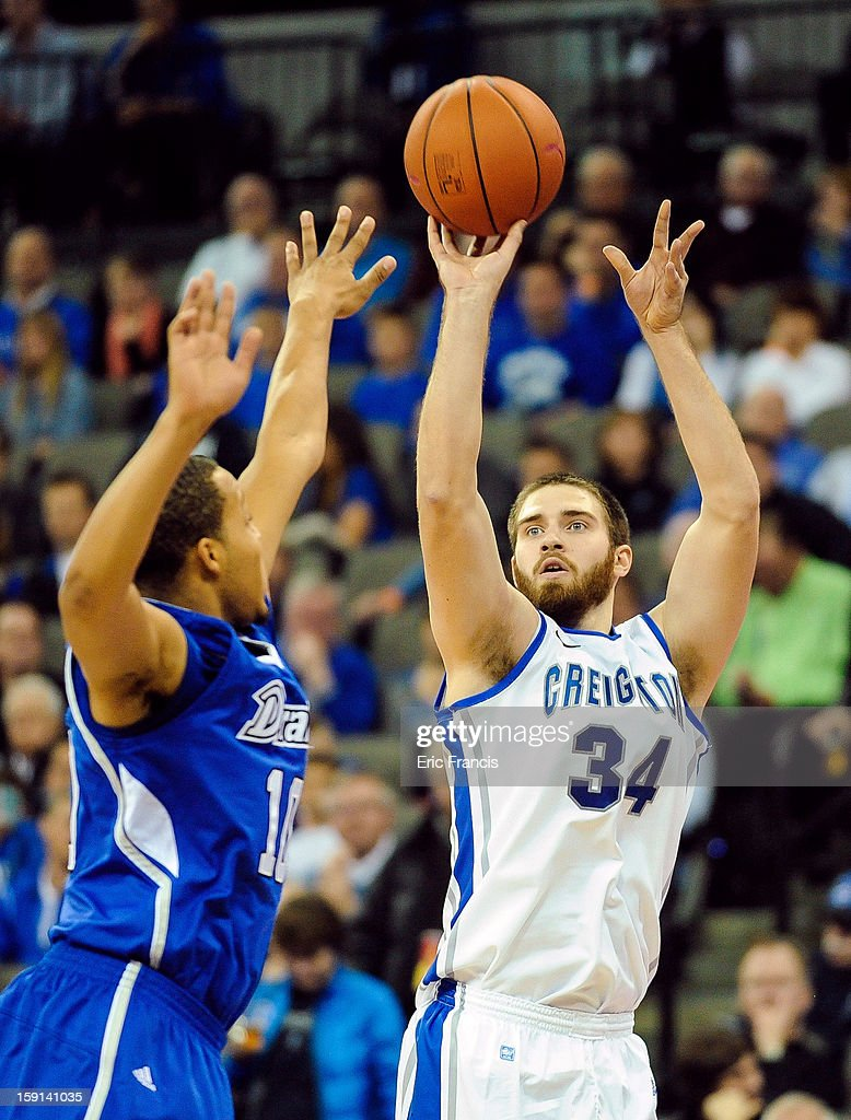 Ethan Wragge #34 of the Creighton Bluejays shoots over Jeremy Jeffers #10 of the Drake Bulldogs during their game at the CenturyLink Center on January 8, 2013 in Omaha, Nebraska. Creighton defeated Drake 91-61.