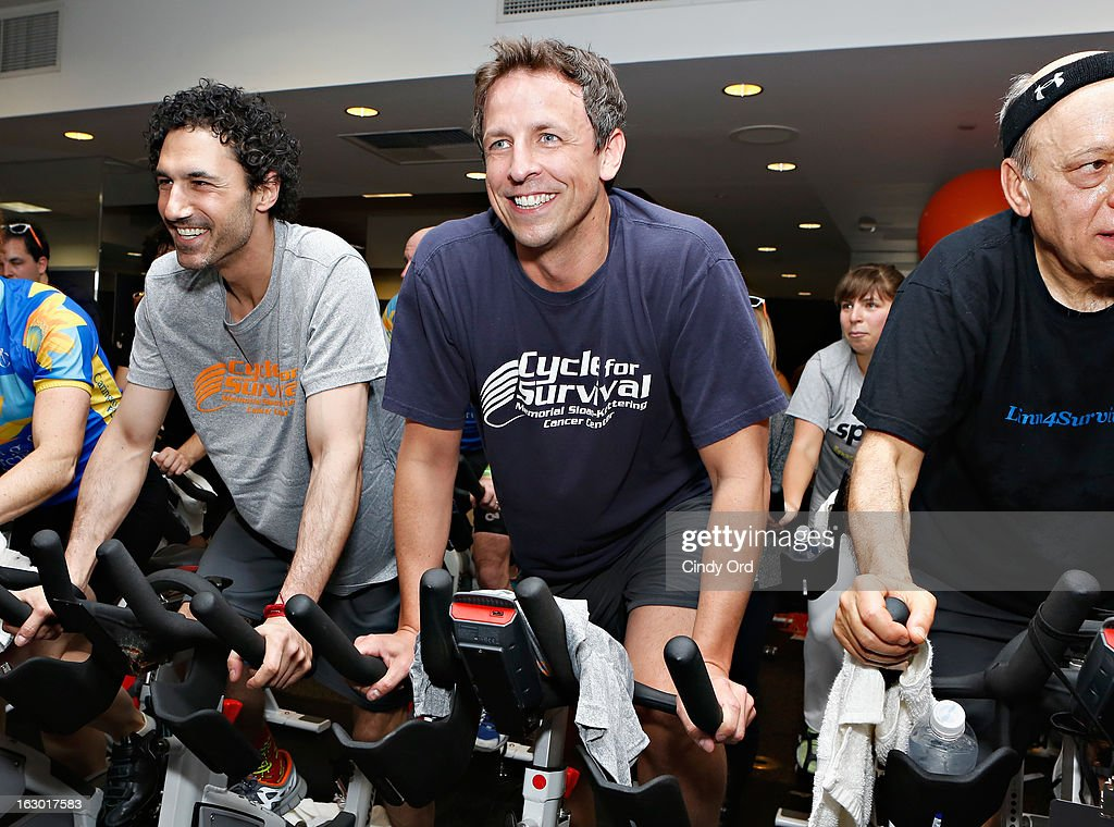 Ethan Zohn and Seth Meyers participate in the 2013 Cycle For Survival Benefit at Equinox Rock Center on March 3, 2013 in New York City.