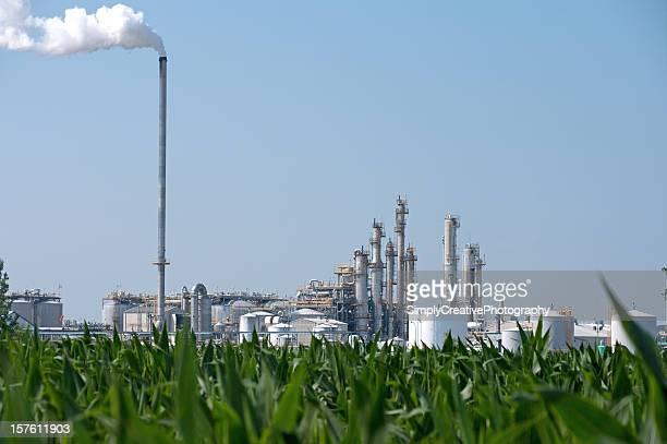 Ethanol Plant by Corn Field