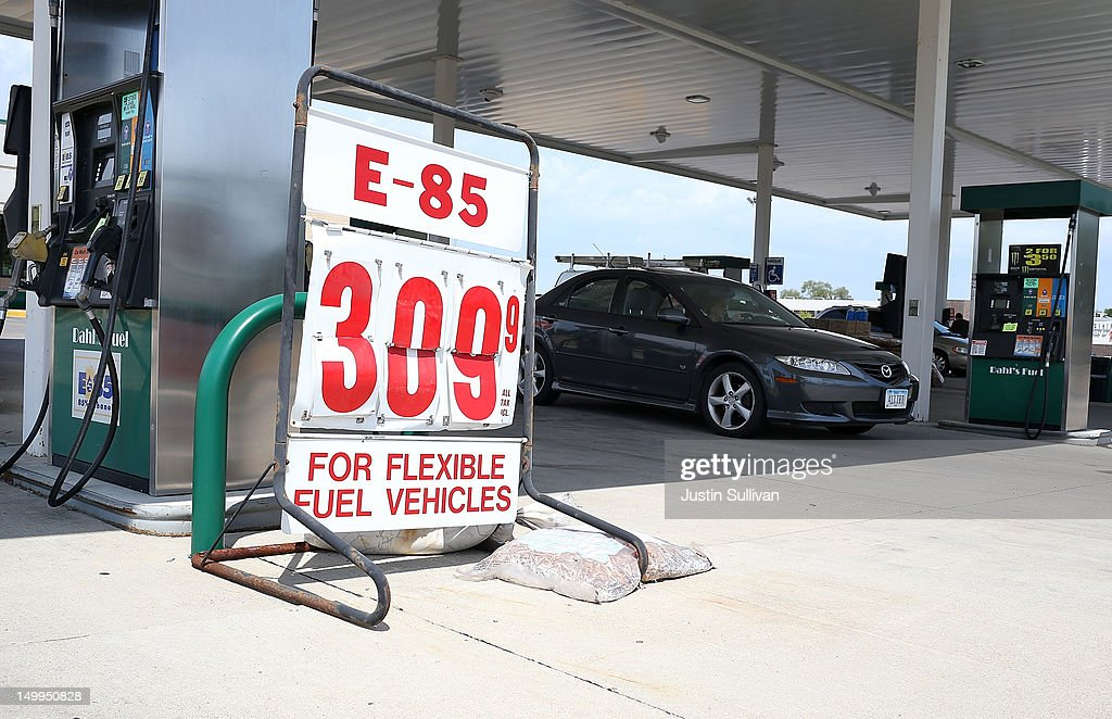Ethanol prices over $3.00 per gallon are diplayed at a gas station on August 7, 2012 in Johnston, Iowa. An exceptionally hot summer and the worst drought in more than a half century has caused cut prospects for the U.S. corn crop to a five-year low and has sent prices up to over $8.00 a bushel in late July trading. The price surge and limited supply has also prompted ethanol plants to voluntarily slow production by 20 percent, a two year low.