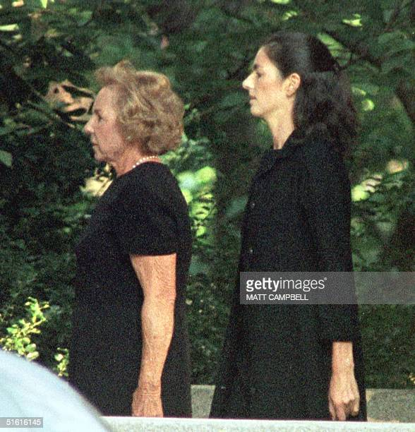 Ethel Kennedy and an unidentified woman arrive at Christ Church 24 July 1999 in Greenwich Connecticut just before a memorial service for Lauren...