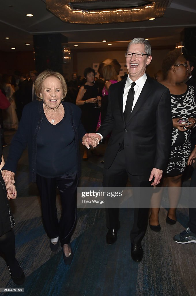 Ethel Kennedy (L) and Apple CEO Tim Cook attend as Robert F. Kennedy Human Rights hosts The 2015 Ripple Of Hope Awards honoring Congressman John Lewis, Apple CEO Tim Cook, Evercore Co-founder Roger Altman, and UNESCO Ambassador Marianna Vardinoyannis at New York Hilton on December 8, 2015 in New York City.