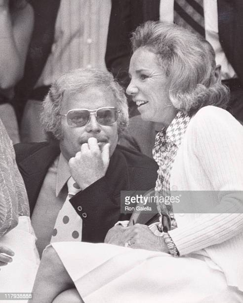 Ethel Kennedy and Roone Arledge during The 2nd annual RFK ProCelebrity Tennis Tournament Promotion at Seagram Plaza in New York City New York United...