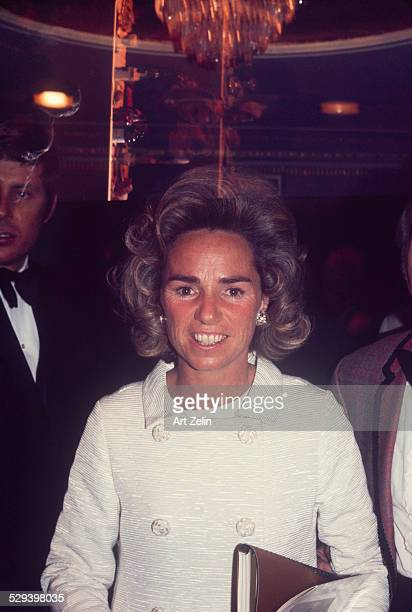 Ethel Kennedy wearing a white coat circa 1970 New York