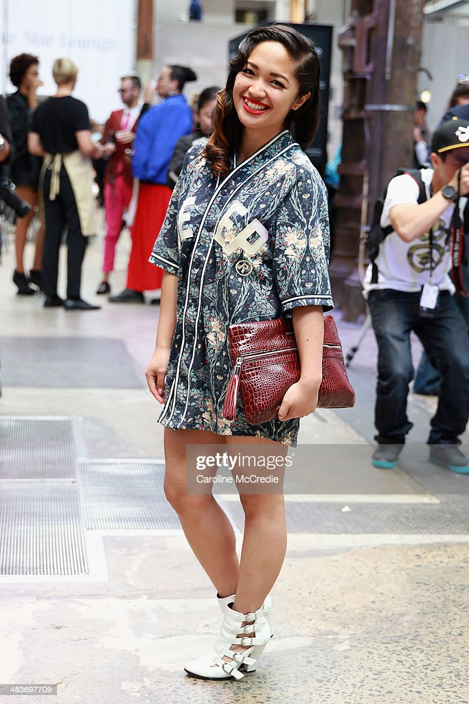 Ethel Manalo wearing a Ten Deep outfit and Armani Exchange clutch at Mercedes-Benz Fashion Week Australia 2014 at Carriageworks on April 10, 2014 in Sydney, Australia.