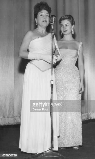 Ethel Merman and MitziGaynor on stage of Center theater at premier of 'There's No Business Like Show Business' Dec 21 1954 Credit The Denver Post