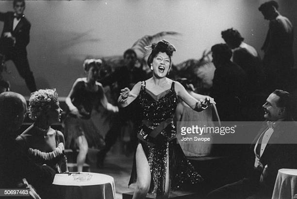 Ethel Merman singing Blow Gabriel Blow in scene during preliminary rehearsal for Anything Goes presented on TV show The Colgate Comedy Hour