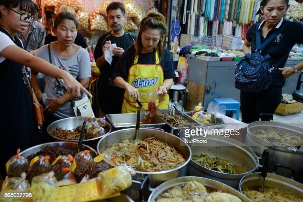 Ethic Chinese shop for vegetarian food at a market in Chinatown Bangkok Thailand on 22 October 2017 The festival celebrates the local Chinese...