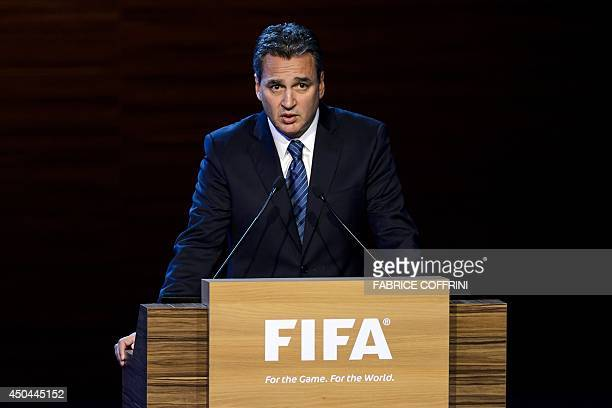 FIFA ethics prosecutor Michael Garcia delivers a speech during the 64th FIFA congress on June 11 2014 in Sao Paulo on the eve of the opening match of...
