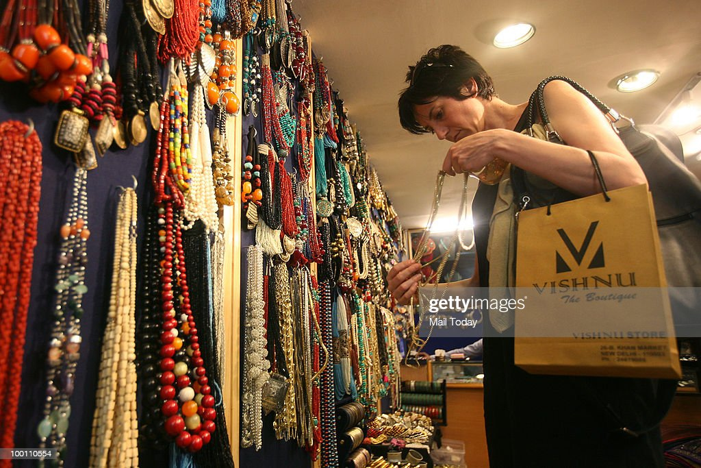 Ethinc jewellery is displayed at the Jay Raj Arts ethnic jewellery store at Khan Market in New Delhi on May 17, 2010.