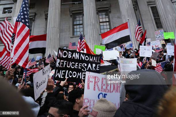 Ethinic Yemenis and supporters protest against President Donald Trump's executive order temporarily banning immigrants and refugees from seven...