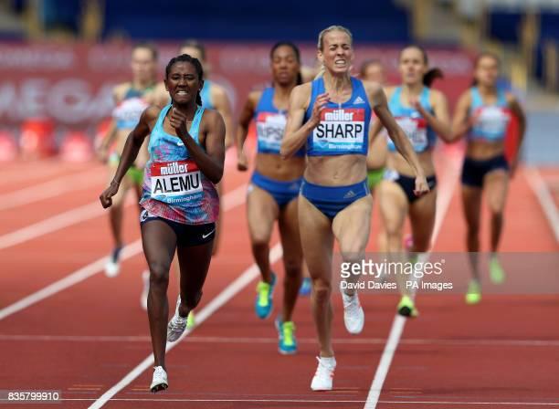 Ethiopa's Habitam Alemu wins the Women's 800m ahead of Great Britain's Lynsey Sharp during the Muller Grand Prix at the Alexandra Stadium Birmingham