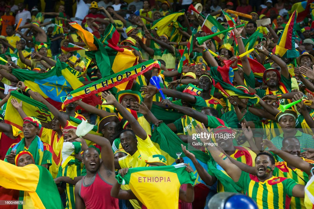 Ethiopia fans enjoy the atmosphere during the 2013 African Cup of Nations match between Burkina Faso and Ethiopia from Mbombela Stadium on January 25, 2013 in Nelspruit, South Africa.
