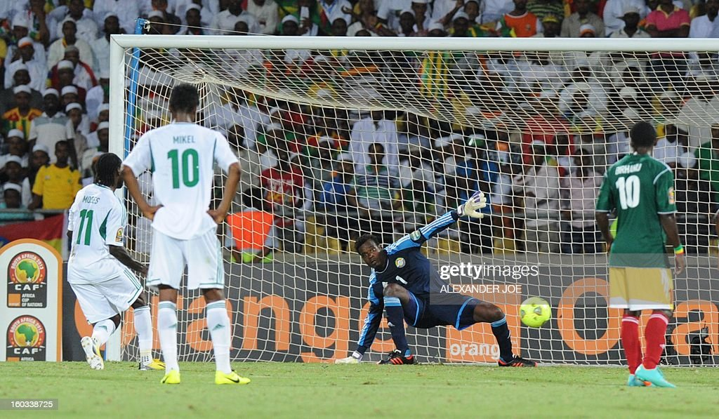 Ethiopia goalkeeper Azzeddine Doukha (C) reacts as Nigeria midfielder Victor Moses (L) scores January 29, 2013 during a 2013 African Cup of Nations Group C football match at the Royal Bafokeng stadium in Rustenburg.