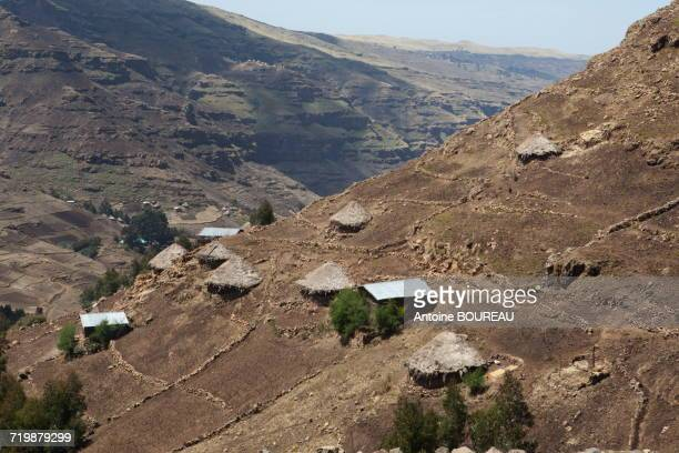 Ethiopia, Houses composing a hamlet in Simien mountains