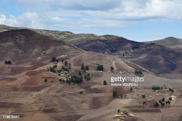 Ethiopia, Landscape and fields in the Simien mountains