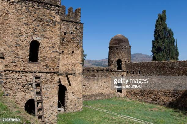 Ethiopia, Outer wall and turret of the castle of Gondar builds in 1640, palace of the king