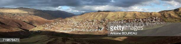 Ethiopia, Panoramic view of Chenek, a village in the Simien mountains