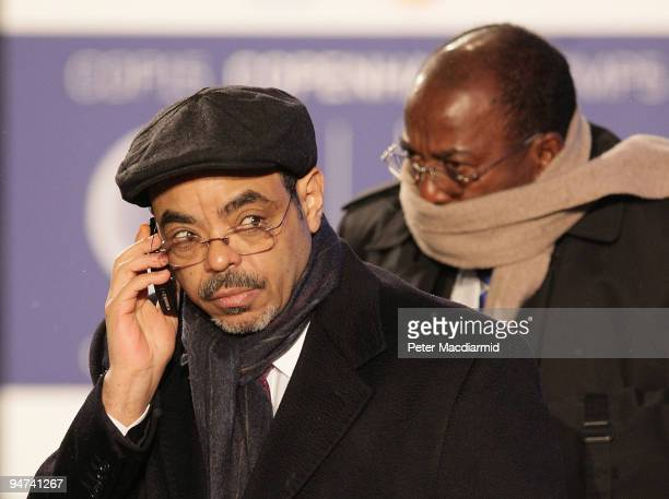 Ethiopia Prime Minister Meles Zenawi arrives for the final day of the UN Climate Change Conference on December 18 2009 in Copenhagen Denmark World...