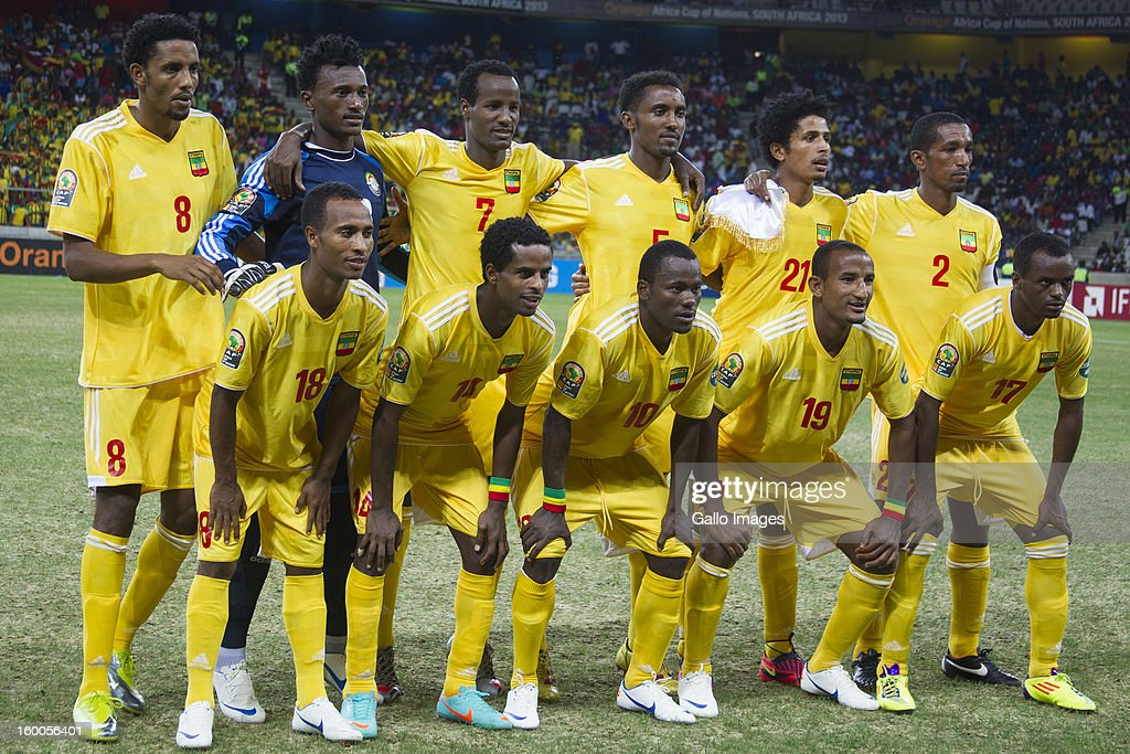Ethiopia squad line-up before the 2013 African Cup of Nations match between Burkina Faso and Ethiopia of Mbombela Stadium on January 25, 2013 in Nelspruit, South Africa.