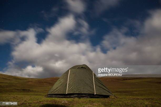 Ethiopia, Tent at night under stars, Simien mountains