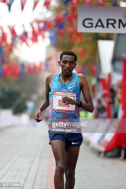 Ethiopian Athlete Bazu Worku finishes third in 42km run within the Vodafone 39th Istanbul Marathon in Istanbul Turkey on November 12 2017 It is the...