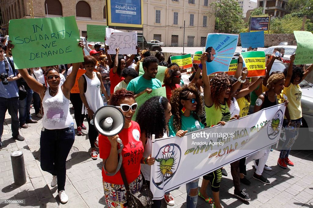 Ethiopian, Bangladeshi, Sri Lankan, Senegali and Philippine Domestic workers take part in a rally to mark May Day, International Workers' Day in Beirut, Lebanon on May 1, 2016.