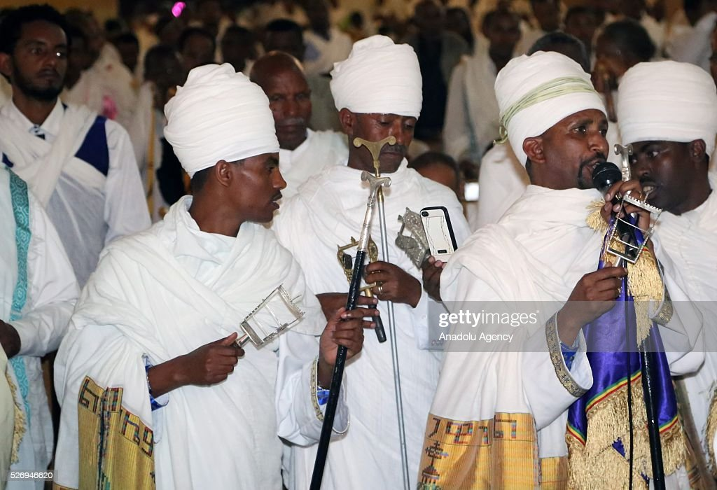 Ethiopian Christians Orthodox people attend the Easter Mass at the Medhane Alem Cathedral in Addis Ababa, Ethiopia on May 1, 2016.