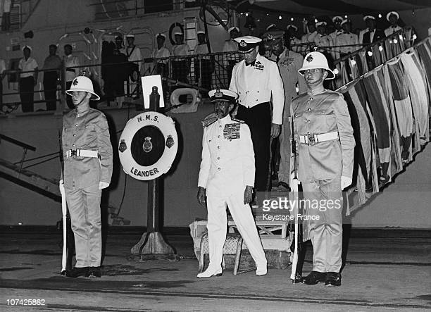 Ethiopian Emperor Haile Selassie Visiting British Warship At Hassawa In Ethiopia On January 30Th 1969