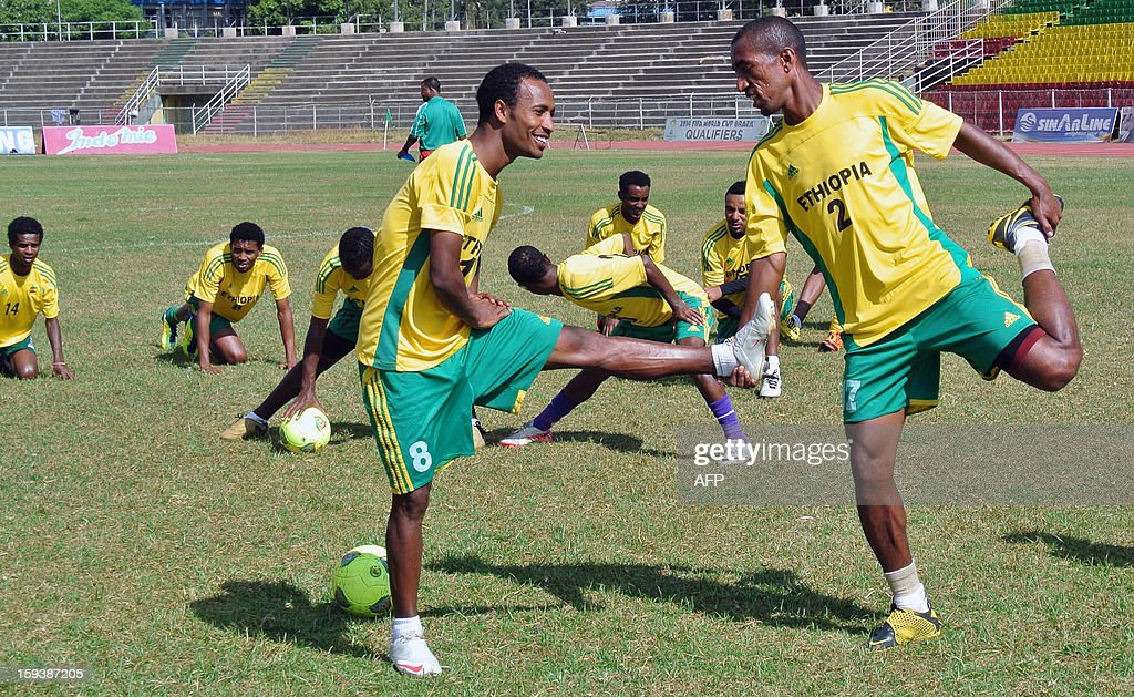 Ethiopian football players stretch during a training session on January 10, 2013 in Addis Ababa ahead of the 2013 Africa Cup of Nations. They may be smaller than the Nigerians, slower than the Zambians and have fewer professional players than most rivals, but Ethiopia are committed to excelling at the 2013 Africa Cup of Nations. It is the first time the Horn of Africa squad has qualified for the pan-African tournament in 31 years, and though the odds might be stacked against them, the Walias Antelopes -- named after an endangered antelope endemic to Ethiopia's northern mountains -- are confident they will defy expectations and proceed to the knock-out stage of the tournament.