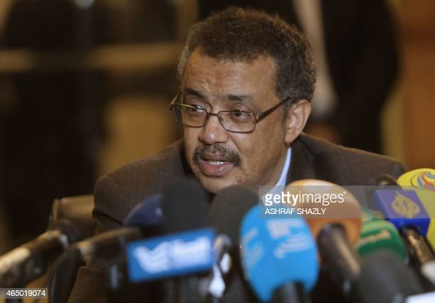 Ethiopian Foreign Minister Tedros Adhanom attends a press conferences on the sidelines of meetings in Khartoum on March 3 2015 between Sudan Egypt...