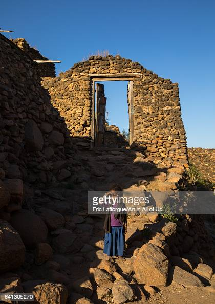 Ethiopian girl in a traditional Argoba stone houses village on January 12 2017 in Koremi Ethiopia
