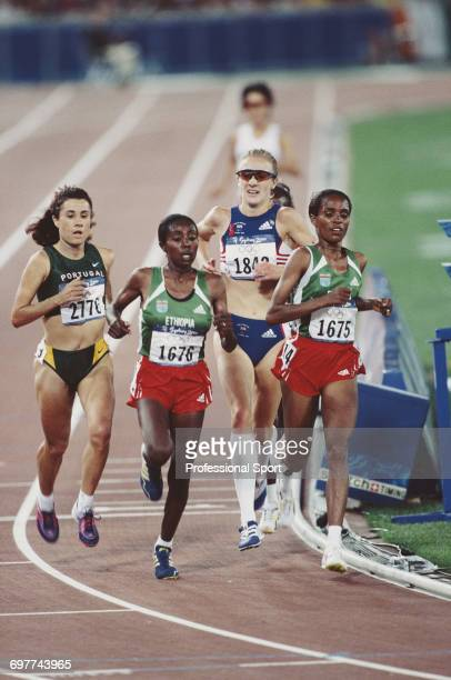 Ethiopian gold and silver medal winning athletes Derartu Tulu and Gete Wami lead bronze medal winning Fernanda Ribeiro of Portugal and fourth placed...