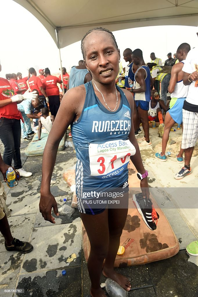 Ethiopian marathoner Halima Kayo is pictured after winning the first Lagos City Marathon, on February 6, 2016 in Lagos. / AFP / PIUS UTOMI EKPEI