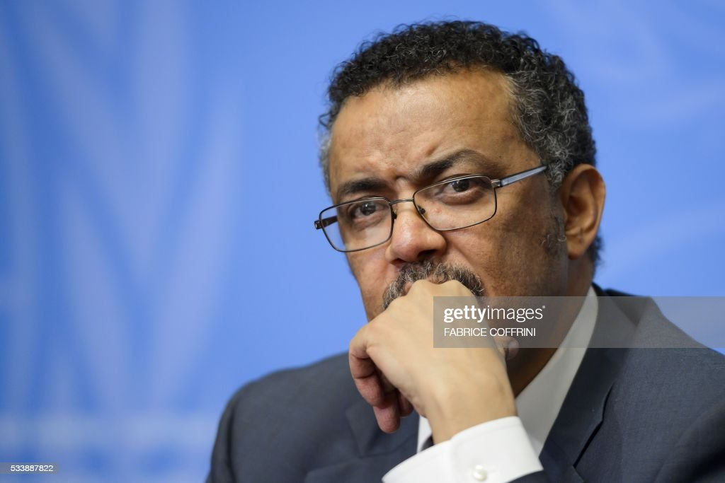 Ethiopian Minister of Foreign Affairs Tedros Adhanom Ghebreyesus attends a press conference launching his candidacy to the post of Director General of World Health Organization (WHO), on the sidelines of the WHO's annual assembly, on May 24, 2016, in Geneva. Delegates from 194 member-states gather for the second day of the WHO's annual assembly, with the UN agency's chief Margaret Chan warning in an opening address that the world was not prepared to cope with a rising threat from infectious diseases. / AFP / FABRICE