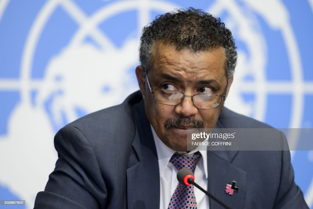 Ethiopian Minister of Foreign Affairs Tedros Adhanom Ghebreyesus attends a press conference launching his candidacy to the post of Director General of the World Health Organization (WHO), on the sidelines of the WHO's annual assembly, on May 24, 2016, in Geneva. Delegates from 194 member-states gather for the second day of the WHO's annual assembly, with the UN agency's chief Margaret Chan warning in an opening address that the world was not prepared to cope with a rising threat from infectious diseases. / AFP / FABRICE