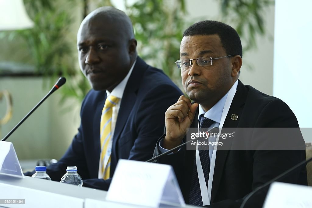 Ethiopian Minister Yinager Dessie Belay (R) attends 'Financial Participation: Innovative solutions for the Least Developed Countries' session within the Midterm Review of the Istanbul Programme of Action at Titanic Hotel in Antalya, Turkey on May 29, 2016. The Midterm Review conference for the Istanbul Programme of Action for the Least Developed Countries takes place in Antalya, Turkey from 27-29 May 2016.