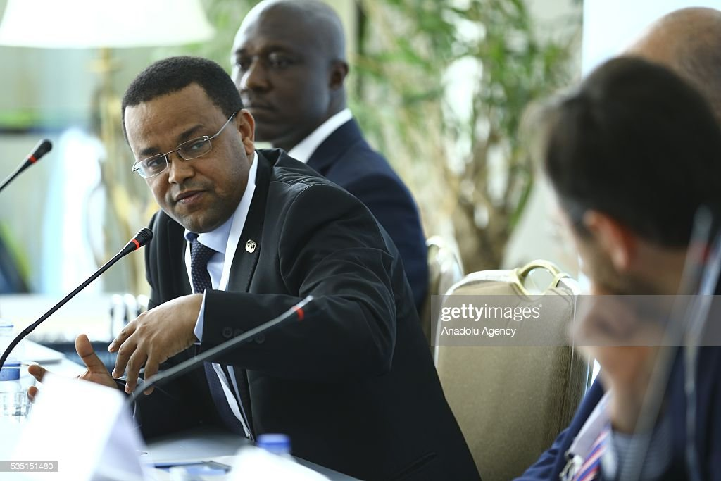 Ethiopian Minister Yinager Dessie Belay (C) attends 'Financial Participation: Innovative solutions for the Least Developed Countries' session within the Midterm Review of the Istanbul Programme of Action at Titanic Hotel in Antalya, Turkey on May 29, 2016. The Midterm Review conference for the Istanbul Programme of Action for the Least Developed Countries takes place in Antalya, Turkey from 27-29 May 2016.