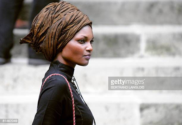 Ethiopian model Liya Kabede arrives on June 5 2008 at the SaintRoch church in Paris to attend the funeral mass held by father Roland Letteron for...