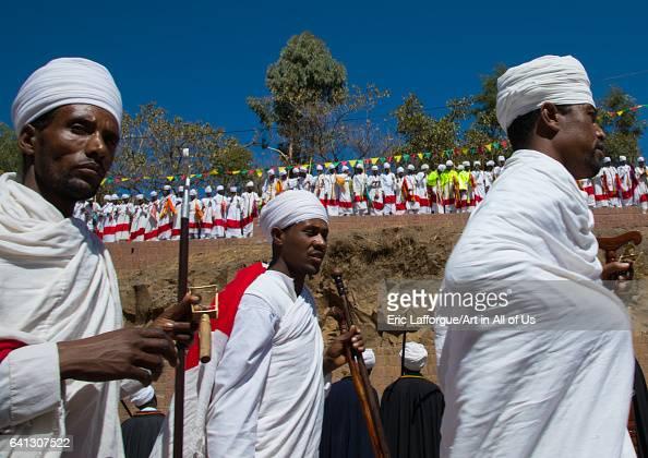 Ethiopian orthodox priests celebrating the colorful Timkat epiphany festival on January 19 2017 in Lalibela Ethiopia