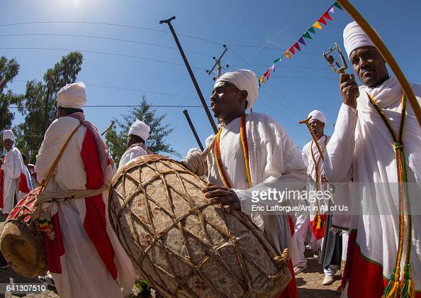 Ethiopian orthodox priests with drums celebrating the colorful Timkat epiphany festival on January 19 2017 in Lalibela Ethiopia