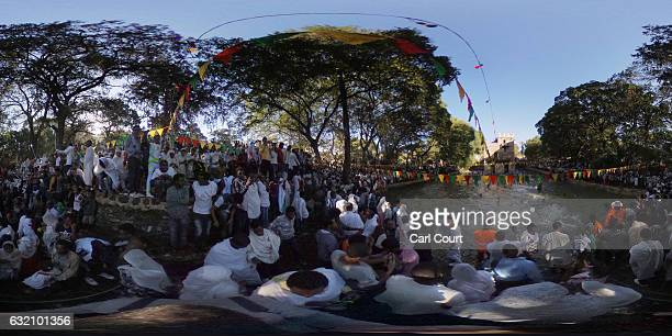 Ethiopian Orthodox worshippers swim in Fasilides Bath during the annual Timkat epiphany celebration on January 19 2017 in Gondar Ethiopia Timkat is...