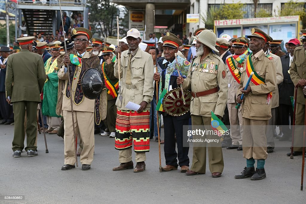 Ethiopian patriots' sons wearing military uniforms and medals attend a national holiday celebrating the liberation from Italian occupation at the Miazia 27 square in Addis Ababa, Ethiopia on May 5, 2016. Patriots Victory Day commemorates those who died during the occupation and honors veterans of the resistance movement.