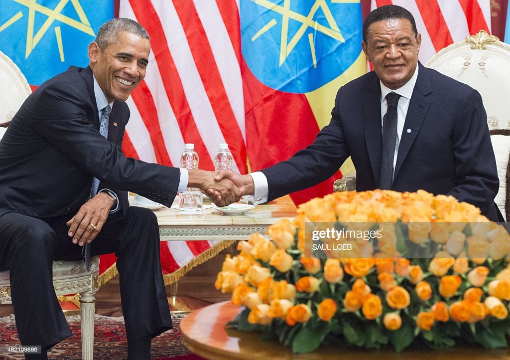 Ethiopian President Mulatu Teshome and US President Barack Obama shake hands during a meeting at the National Palace in Addis Ababa on July 27 2015...