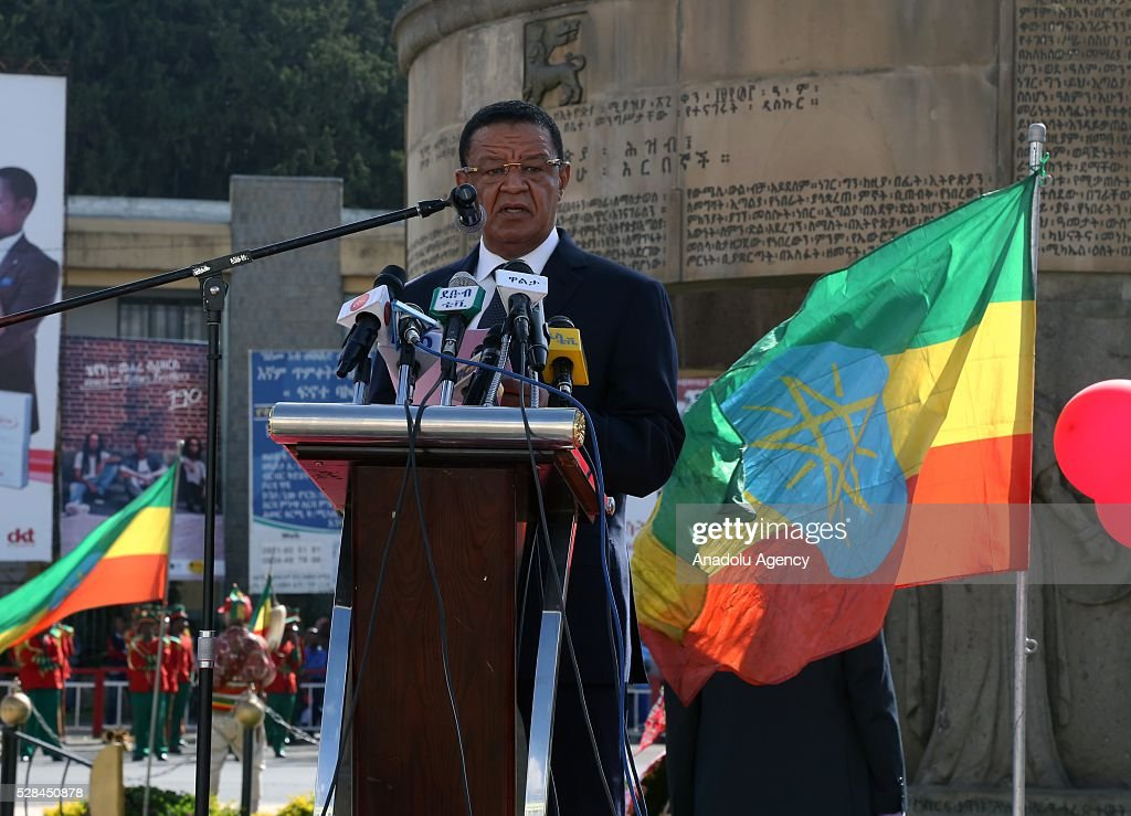 Ethiopian President Mulatu Teshome delivers a speech during a national holiday celebrating the liberation from Italian occupation at the Miazia 27 square in Addis Ababa, Ethiopia on May 5, 2016. Patriots Victory Day commemorates those who died during the occupation and honors veterans of the resistance movement.
