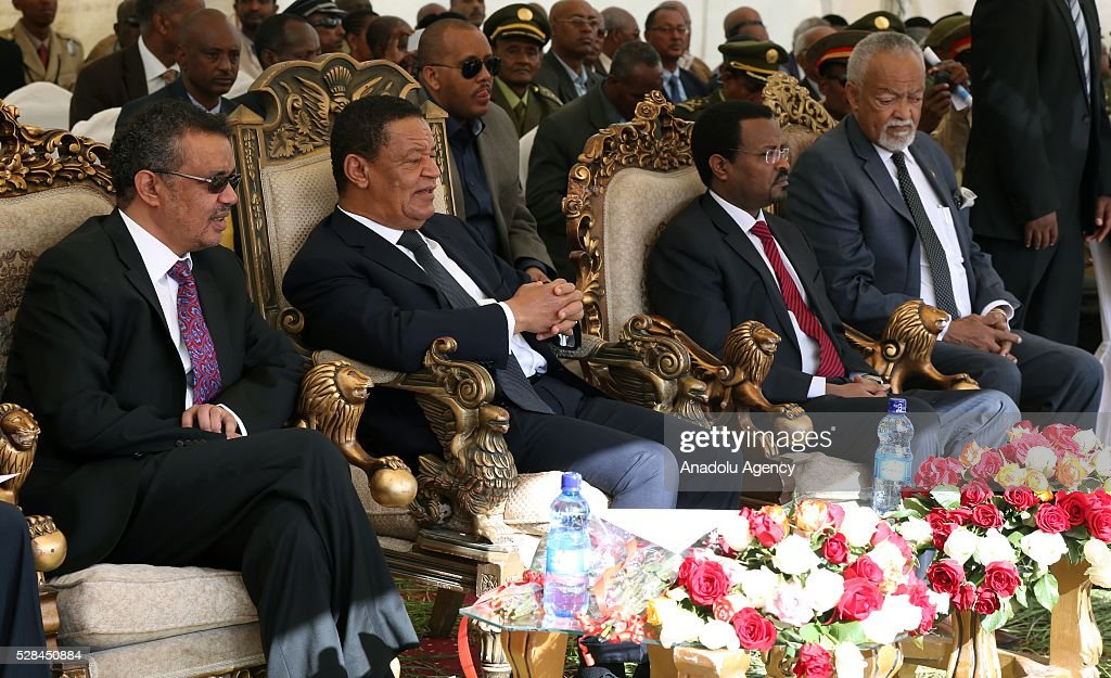 Ethiopian President Mulatu Teshome (2nd L), Minister of Foreign Affairs of the Federal Democratic Republic of Ethiopia Tedros Adhanom (L), Mayor of Addis Ababa Metropolitan Municipality Driba Kuma (2nd R) and Ethiopian Patriots Association President Lij Daniel Jote Mesfin (R) are seen during a national holiday celebrating the liberation from Italian occupation at the Miazia 27 square in Addis Ababa, Ethiopia on May 5, 2016. Patriots Victory Day commemorates those who died during the occupation and honors veterans of the resistance movement.