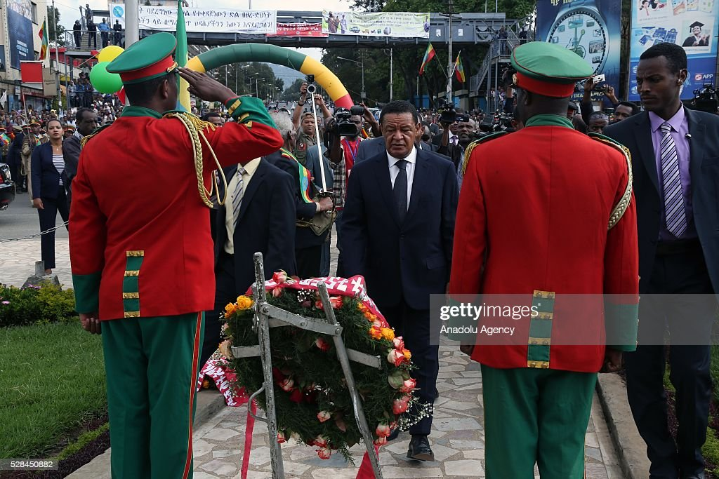 Ethiopian President Mulatu Teshome places a wreath during a national holiday celebrating the liberation from Italian occupation at the Miazia 27 square in Addis Ababa, Ethiopia on May 5, 2016. Patriots Victory Day commemorates those who died during the occupation and honors veterans of the resistance movement.