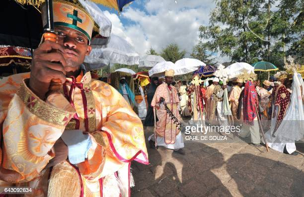 Ethiopian priests and monks are pictured during the annual festival of Timkat in Lalibela Ethiopia which celebrates the Baptism of Jesus in the...