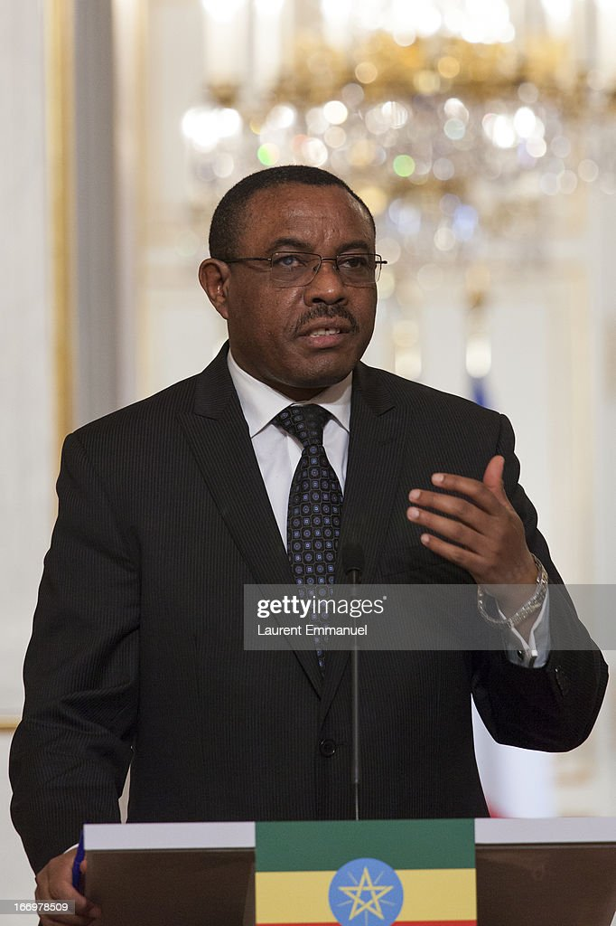 Ethiopian Prime Minister <a gi-track='captionPersonalityLinkClicked' href=/galleries/search?phrase=Hailemariam+Desalegn&family=editorial&specificpeople=7752700 ng-click='$event.stopPropagation()'>Hailemariam Desalegn</a> addresses reporters during a joint press conference following his meeting with French President Francois Hollande at Elysee Palace on April 19, 2013 in Paris, France. Prime Minister Hailemariam Dessalegn is on his first official visit to Europe after becoming the new Prime Minister of Ethiopia, and aims to improve relationships between Ethiopia and the EU during his visit.